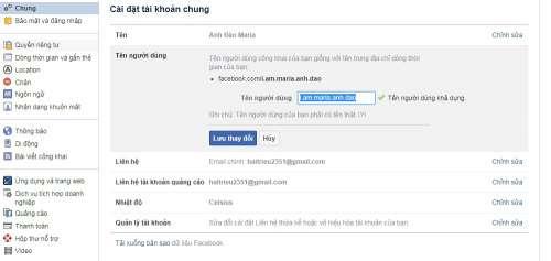 đổi tên user facebook